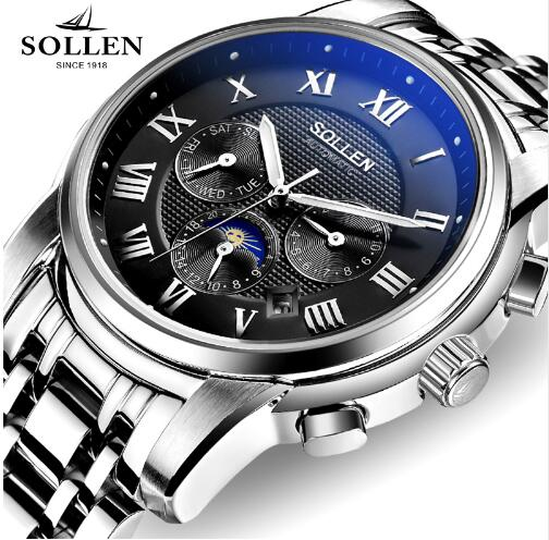 Watch Men SOLLEN 802 Automatic Mechanical Watches Waterproof Luminous Moon Phase Men Luxury Sport Watches male gift 802