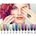 Nueva 12 Colores Shimmer Polvo Del Arte Del Clavo En Polvo Brillo Espejo Mágico Efecto Cromado 2 g/caja Con Cepillos GUB #