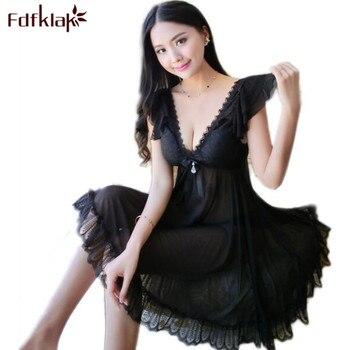 16f2e69ec5f8492 Fdfklak летняя одежда для сна без рукавов с глубоким v-образным вырезом  ночные рубашки ночные