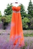 Сексуальное Милое оранжевое вышитое бисером платье для выпускного вечера с кристаллами и рюшами шифон длинный Выпускной платья недорогие