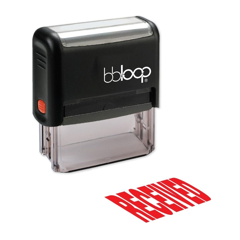BBloop RECEIVED Extra Bold Self-Inking Stamp, Rectangular, Laser Engraved, RED/BLUE/BLACK 10 digit 9 wheels gray light blue rubber band self inking numbering stamp