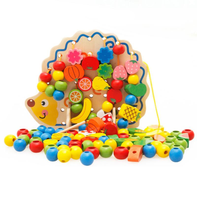 3D DIY Colourful Wooden Fruit Tree House Toys For Kids Friend Birthday Gift Wooden Hedgehog Fruits String Beads Puzzle 97pcs diy wooden tractor mechanical transmission model assembly puzzle toy for ugears gift