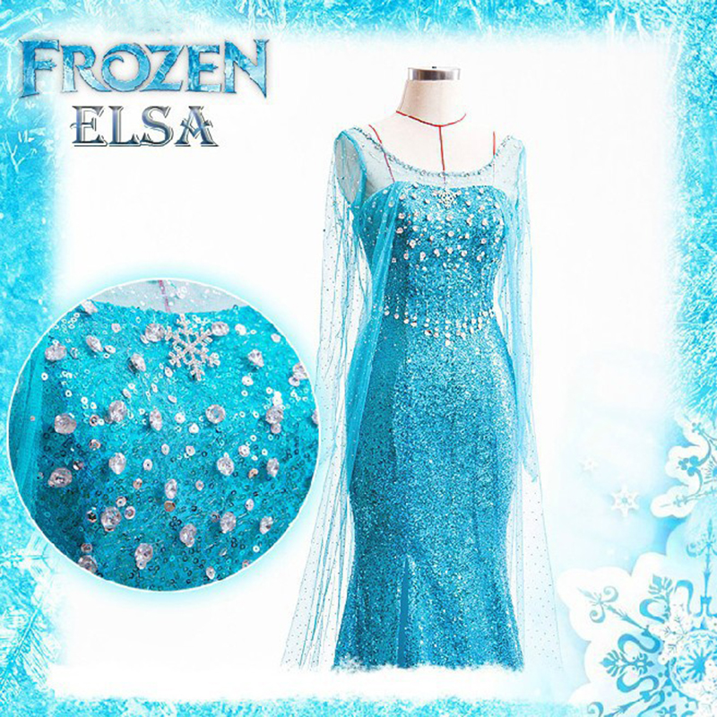 Image 5 - Free shipping adult Elsa Frozen princess with cloak Halloween cosplay wear for woman with crown and princess stick JQ 1003-in Movie & TV costumes from Novelty & Special Use