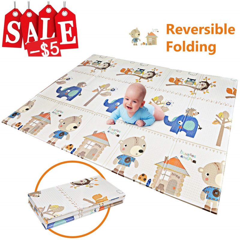 Bear Baby Play Mat Folding Baby Care XPE Playmat Foam Floor Slip Extra Large Foam Reversible Waterproof Portable Double Sides