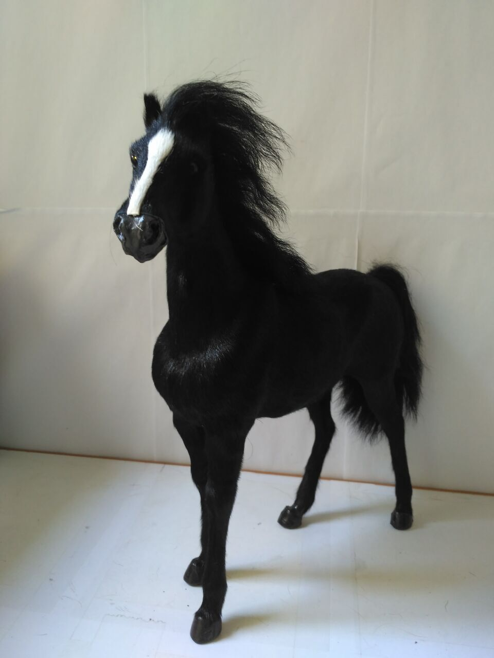 big simulation black horse toy polyethylene&furs war horse model doll gift about 34x36cm 1979 simulation horse large 36x34cm hard model polyethylene