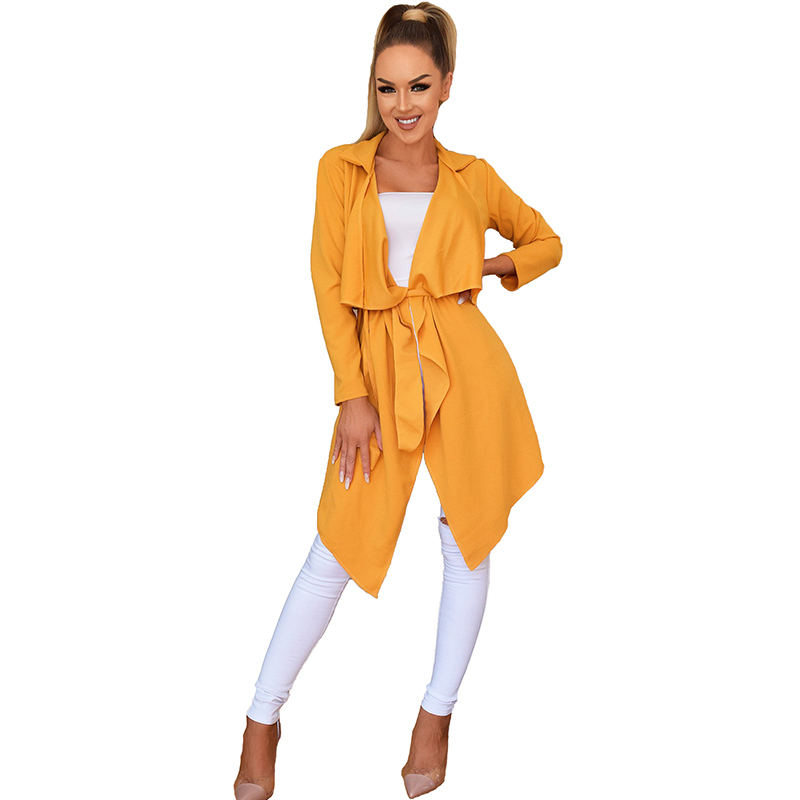 long sleeve turn-down collar autumn Spring coats women casual outerwear female slim midi Open Stitch   Trench   with Belt