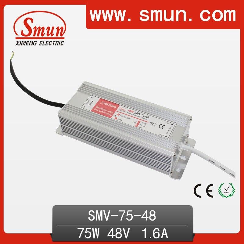 Водонепроницаемый светодиодный драйвер IP67 75 Вт 48 в 1,6 А, импульсный источник питания для светодиодной ленты с CE ROHS, гарантия 1 год