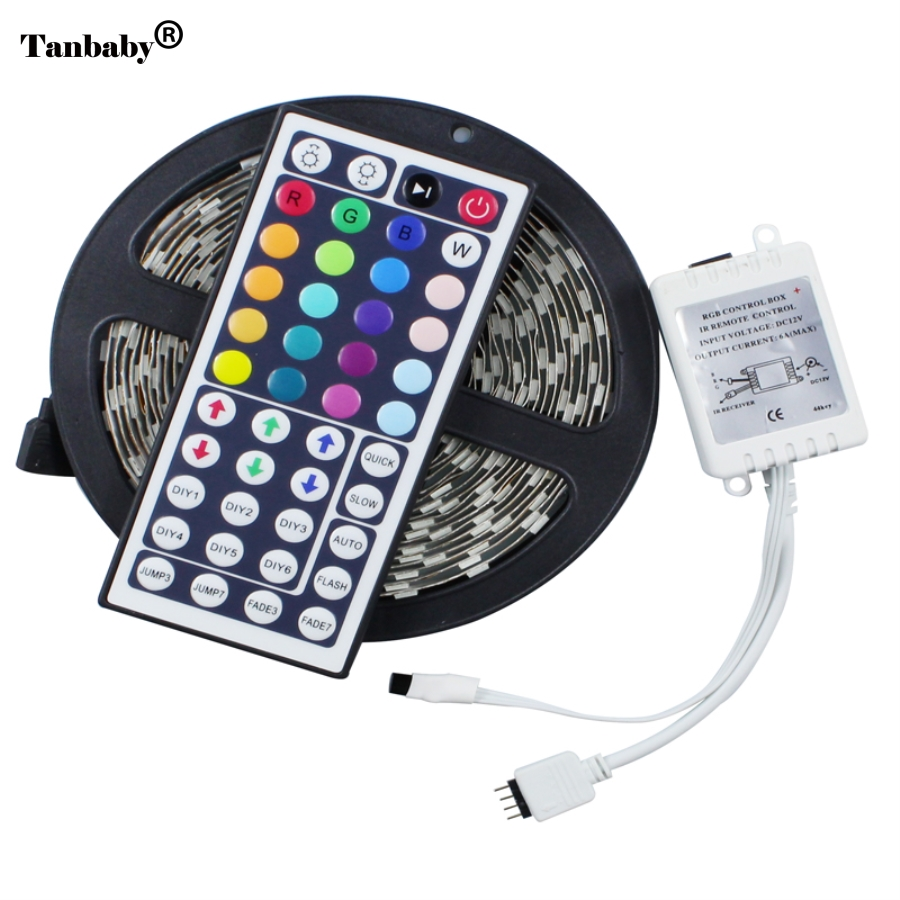Tanbaby 5050 RGB LED sloksne 5m 300LED 12V Nav ūdensnecaurlaidīga LED lente String Stripe Bar Neon Bombillas Led Lamp gaismas + 44Key Remote