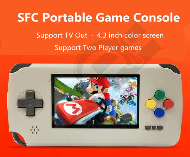 Newest For SFC For SNES portable game player for SNES Portable Game Console 4.3 inch screen read cartridge TV out two gamepad
