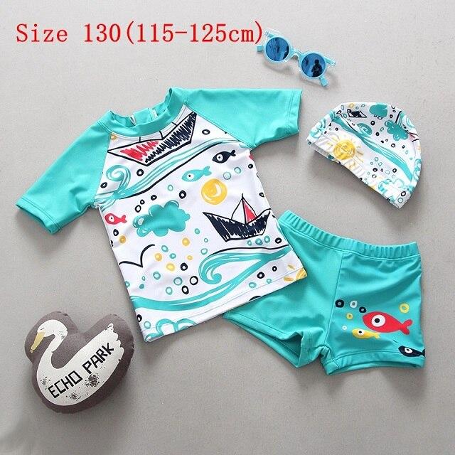 Kids Boys Swimsuit UPF 50 UV Sun Protective Two-Piece Cute Shark Rash Guard with Hat