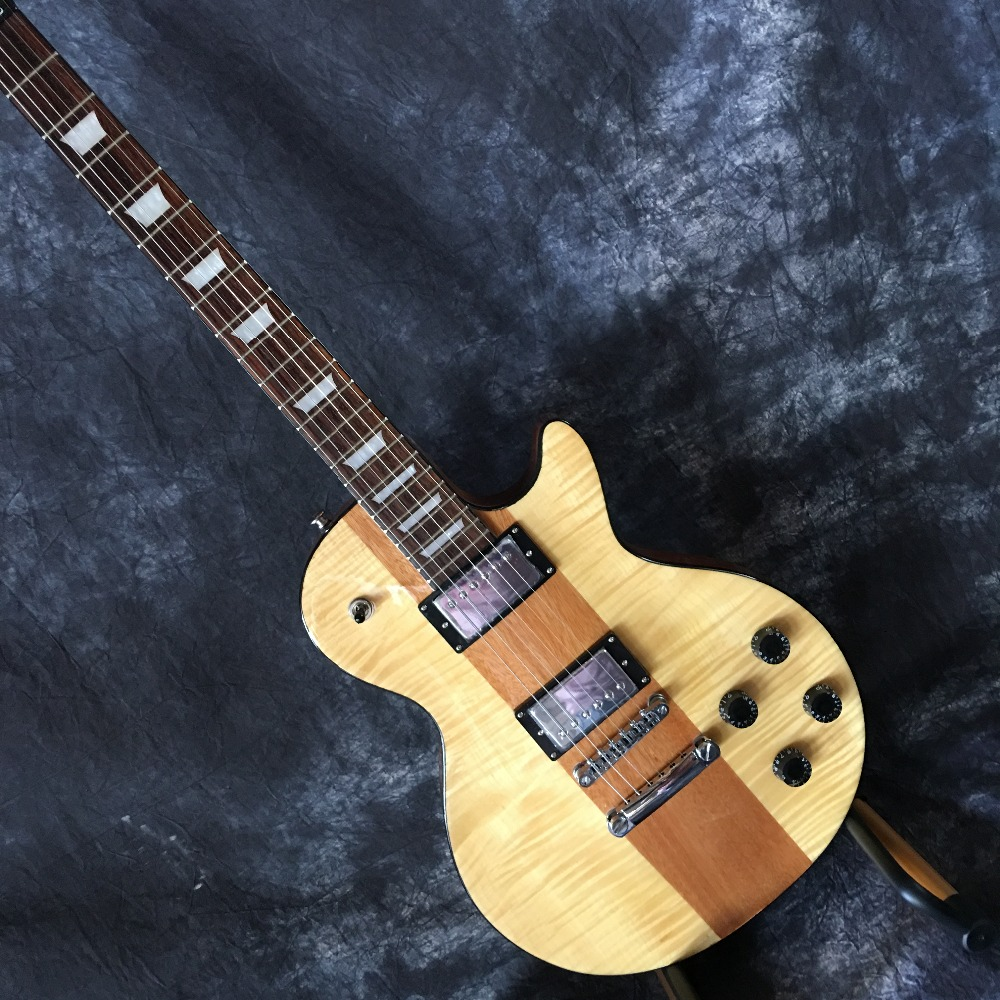New No fret Natural Color Electric Guitar,Custom Fretless LP Guitar,free shipping