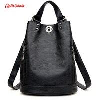 2017 New Fashion Women Backpack Female PU Leather Women's Bucket Backpacks Bag Travel Bags Back Pack Multi purpose Shoulder Bags