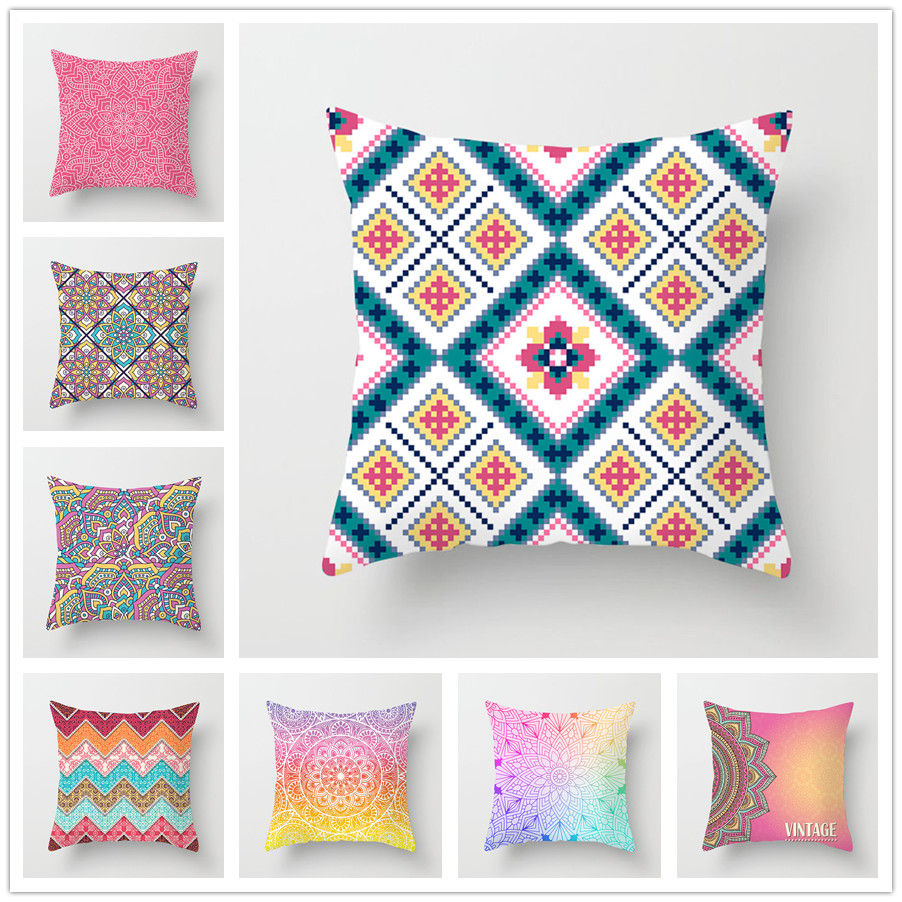 45x45 Pillowcase Square Pillow Cover Cushion Case Toss Hidden Zipper Closure Pillows Pattern For Bedroom  Living Room 007-21