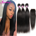 7A Brazilian Virgin Hair With Closure Human Hair Straight Weave With Closure 4 Bundle Brazilian Hair Weave Bundles With Closure