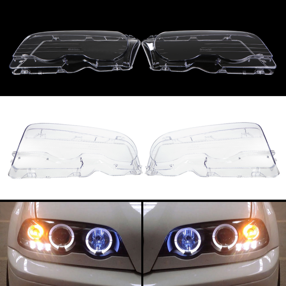 Headlight Clear Lens Cover 2 Pcs Front Headlamp Plastic Shell For BMW E46 2-Door 1999-2002 (Left & Right) Car Accessories headlight clear lens cover 2 pcs front headlamp plastic shell for bmw e46 2 door 1999 2002 left