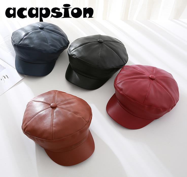 Men's Hats Apparel Accessories Audacious Acapsion French Artist Beret Hat For Women Faux Leather Plain Berets Painter Octagonal Hats Caps Gorras Mujer Cappelli Donna