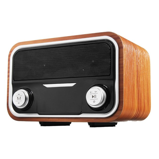 SENBOWE Retro Subwoofer Speaker Dual Loudspeaker Wooden Bluetooth Wireless FM Radio Handfree TF