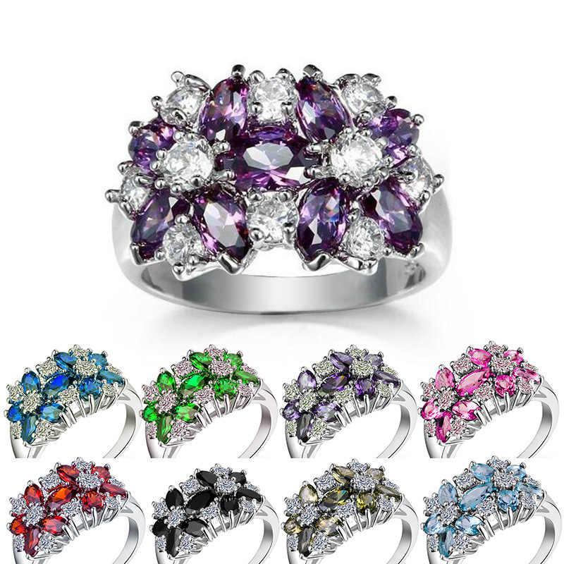Huitan Hot البيع خاتم حفلة كوكتيل زهرة زركون عيد الحب هدية مجوهرات الأزياء خواتم فاخرة للنساء و عاشق