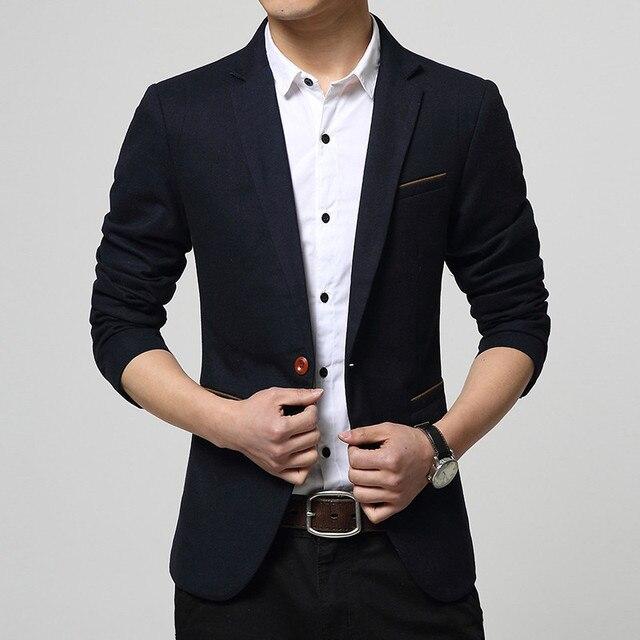 Классический Джентльмен Стиль мужской Высокое Качество Хлопка Бизнес Повседневная Костюмы Куртки Свадебное Платье Slim Fit однобортный Пиджак мужчины
