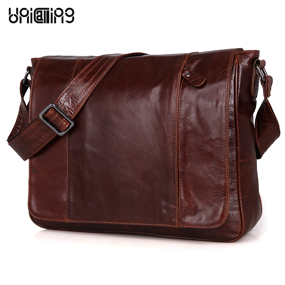 UniCalling messenger bag men leather fashion cover genuine leather men bag casual men leather shoulder bag quality cowhide premium top layer cowhide genuine leather men messenger bag unicalling brand fashion style leather men bags business casual bag