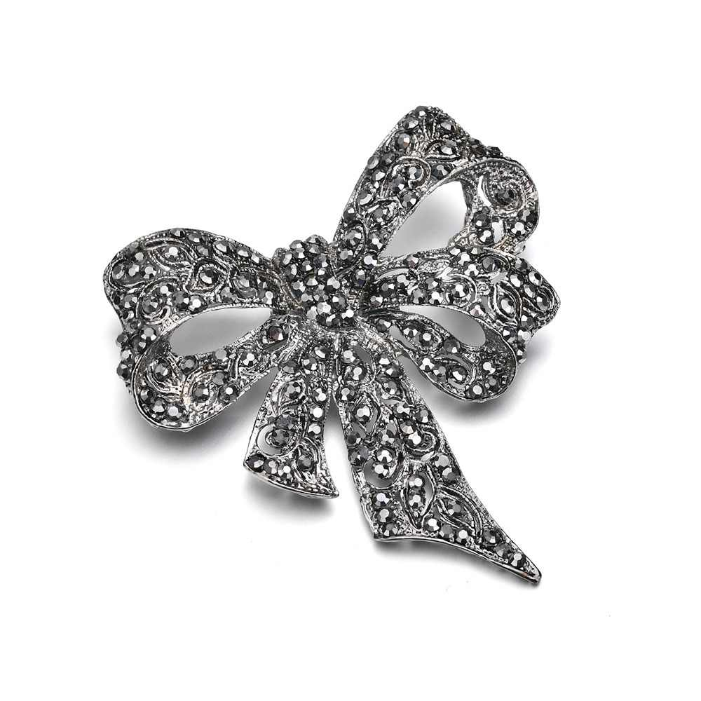 2018 Hot Warna Hitam Berlian Imitasi Busur Bros Wanita hadiah Besar Ikatan Simpul Bros Pin Aksesoris Fashion Perhiasan Antik Musim Dingin