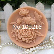 New Product!!1pcs Peony Flowers with Butterfly (zx286) Food Grade Silicone Handmade Soap Mold Crafts DIY Mould