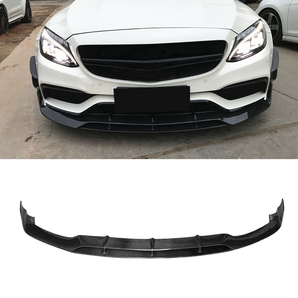 C Class Carbon Fiber Front Bumper Lip Spoiler for Mercedes Benz W205 C63 AMG C180 C200 C260 15-17 Car Styling carbon fiber emblem car stickers b column door bumper sticker for mercedes benz c class w205 c180 c200 c300 glc car styling