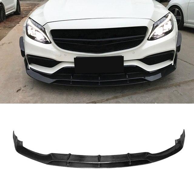 C Class Carbon Fiber Front Bumper Lip Spoiler for Mercedes Benz W205 C63 AMG C180 C200 C260 15-17 Car Styling