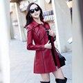2016 Ladies Leather Spring New Large Size Leather Leather Slim Girls Long Windbreaker Jacket Leather Jacket Women