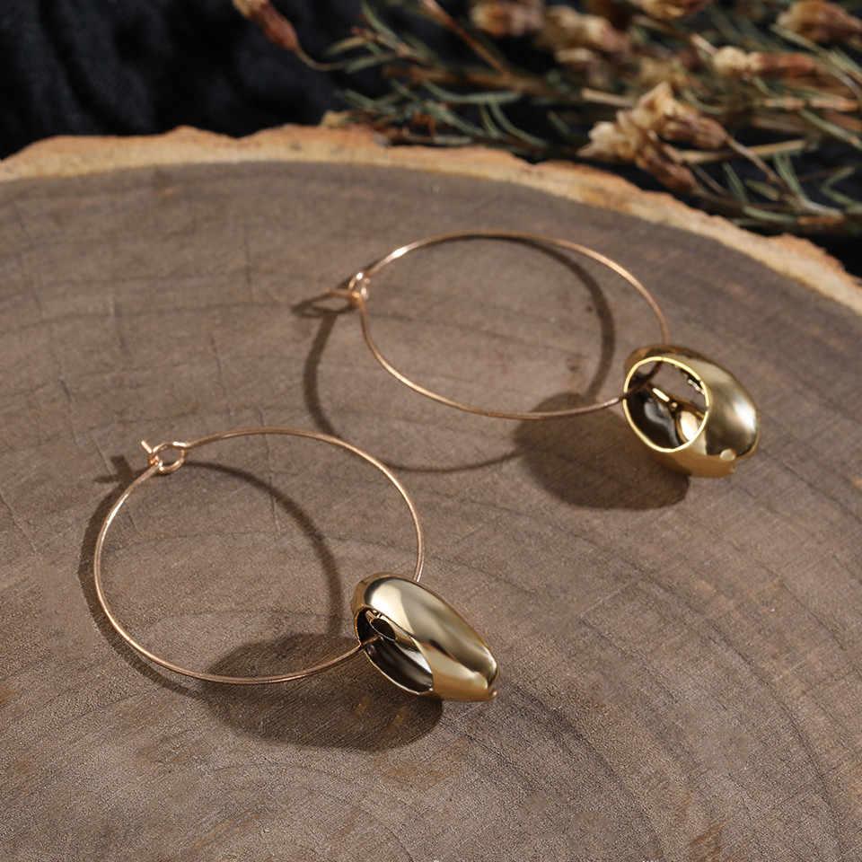 Морские сережки в виде ракушек для женщин Модный золотой цвет металлический корпус Cowrie эффектные висячие серьги 2019 Новые летние пляжные украшения