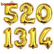 32 polegadas de Ouro & Prata Dígitos Números Balões Folha Decoração Do Casamento da Festa de Aniversário de Hélio Balões De Ar Para Celebrar O Evento Suprimentos