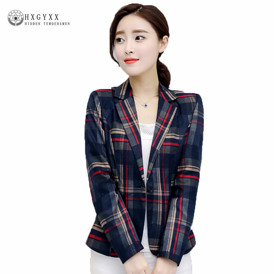 2017 Women Blazers Blue Red Plaid Blazer Women blazer Coat Casual One Button Outerwear Short Blazer Feminino OL Style OK315