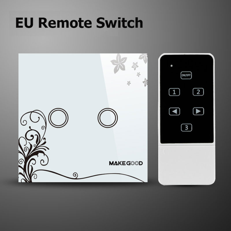 Makegood EU/UK Standard 2 Gang 1 way Wireless Remote Control Light Switch, Crystal Glass Touch Panel Wall Switch For Smart Home remote wireless touch switch 1 gang 1 way crystal glass switch touch screen wall switch for smart home light free shipping