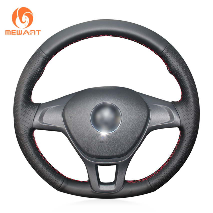 MEWANT Black Artificial Leather Car Steering Wheel Cover for Volkswagen VW Golf 7 (VII) Golf Sportsvan(SV) Polo T-Roc Up! Caddy