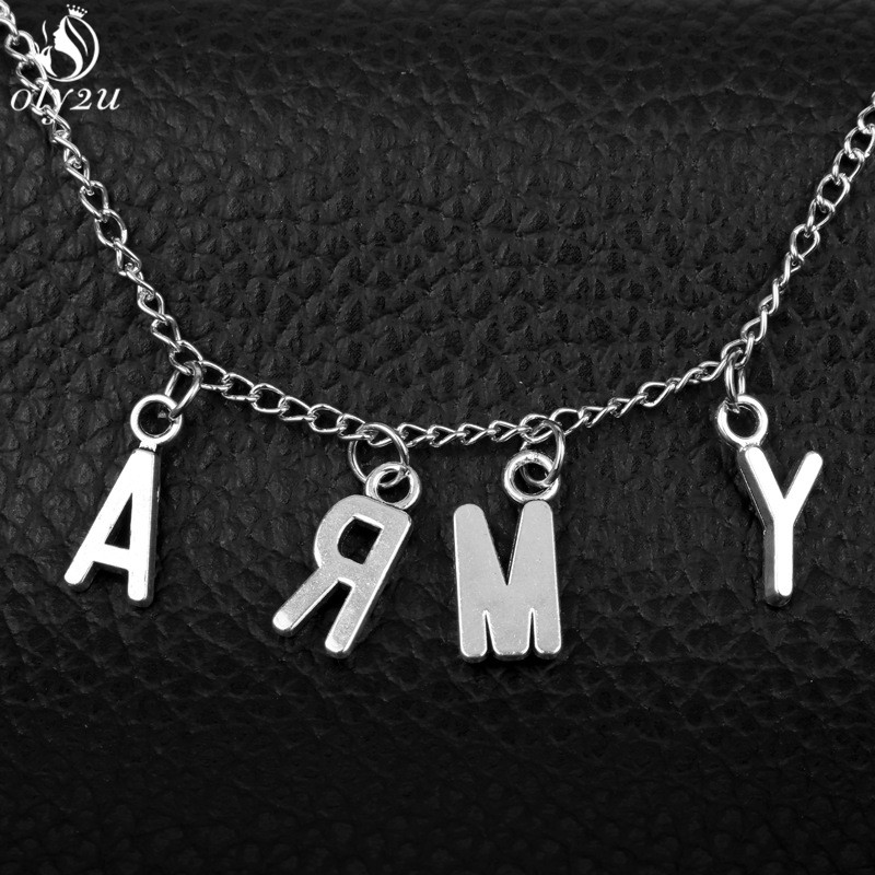 Oly2u KPOP Letter ARMY Jimin Same Fan Nameplate Pendant Necklace for Women Punk Korean Style Choker Necklace Men Jewelry Collier(China)