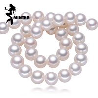 MINTHA AAAA Pearl Jewelry Natural Pearl Necklace 8 9mm Nearly Round Pearl Necklace For Women CLASSIC