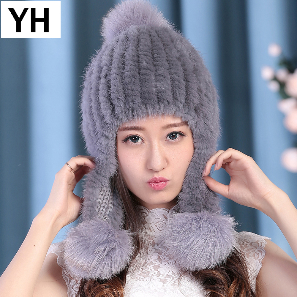 New Hot Fashion Women Genuine Real Mink Fur Hat Winter Warm Elastic Real Mink Fur Caps 100% Natural Quality Knitted Mink Fur Cap