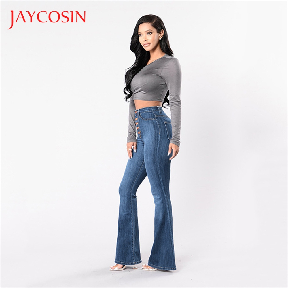 JAYCOSIN  Autumn Elastic Women  Plus Loose Denim Pocket Button Casual Boot Cut Pant Jeans Casual Occasion Denim Material