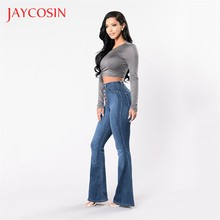 JAYCOSIN Herbst Elastische Frauen Plus Lose Denim Tasche Taste Casual Boot Cut Hose Jeans Lässig Anlass Denim Material(China)