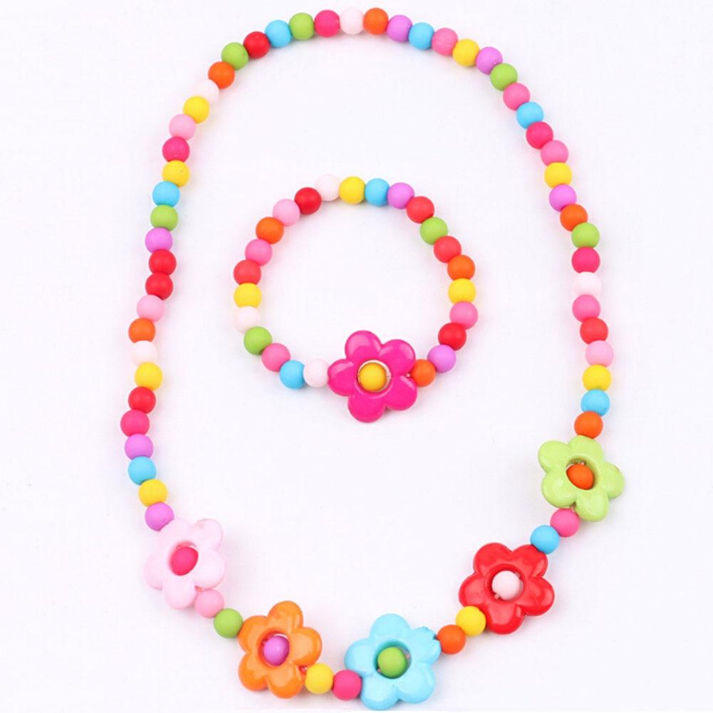 1 Set 2018 Fashion Necklace And Bracelet Candy Color Butterfs