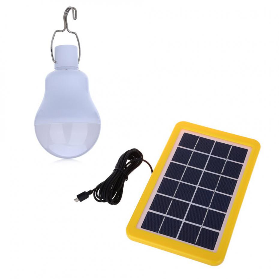 Portable 4W LED Solar Powered Light Bulb Solar Led Lights IP65 Waterproof for Outdoor Camping,Hiking,Home lighting Solar Lamp 35 led solar dimmable hanging lamp waterproof outdoor camping lights solar and ac charged tent lighting luz lampara