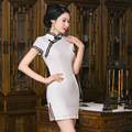 TIC-TEC women cheongsam short qipao lace linen chinese traditional dress oriental dresses formal elegant evening clothes P2862