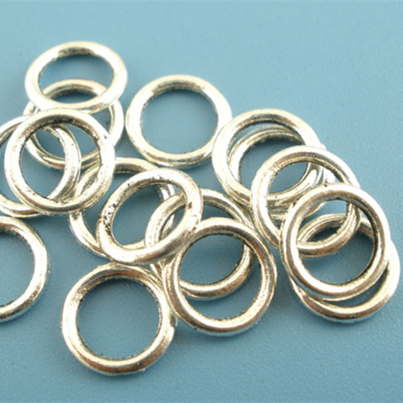 Wholesale Antique Silver Tone Soldered Closed Jump Ring DIY Jewelry Making 8mm Dia. ...