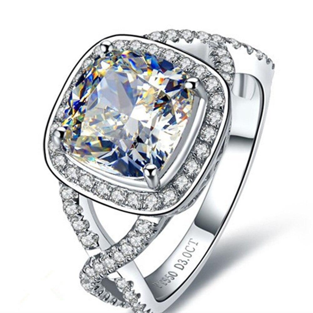 3 Carat Cushion Cut Halo Style Sona Synthetic Diamonds Wedding Engagement  Ring White Gold Color Genuine