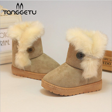 Tanggetu Winter Fashion Child Girls Snow Boots Shoes Warm Plush Soft Bottom Baby Girls Boots Cotton Winter Snow BooSt For Baby