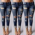 2016 new Women Denim Skinny Pants High Waist Boyfriend Ripped Jeans Elastic Slim Pencil Trousers