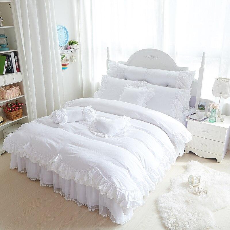 หิมะสีขาวชุดเตียงหรูหราเจ้าหญิงลูกไม้ผ้านวมปกแต่งงานโรแมนติกที่นอนหมอนมุ้งR Ufflesกระโปรงเตียงผ้าคลุมเตียงขนาดควีนไซส์กษัตริย์-ใน ชุดเครื่องนอน จาก บ้านและสวน บน   1
