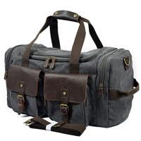 Vintage Military Men Travel Duffel Bag Multi pocket Canvas Overnight Bag Leather Weekend Carry on Big Shoulder Bags Tote Luggage