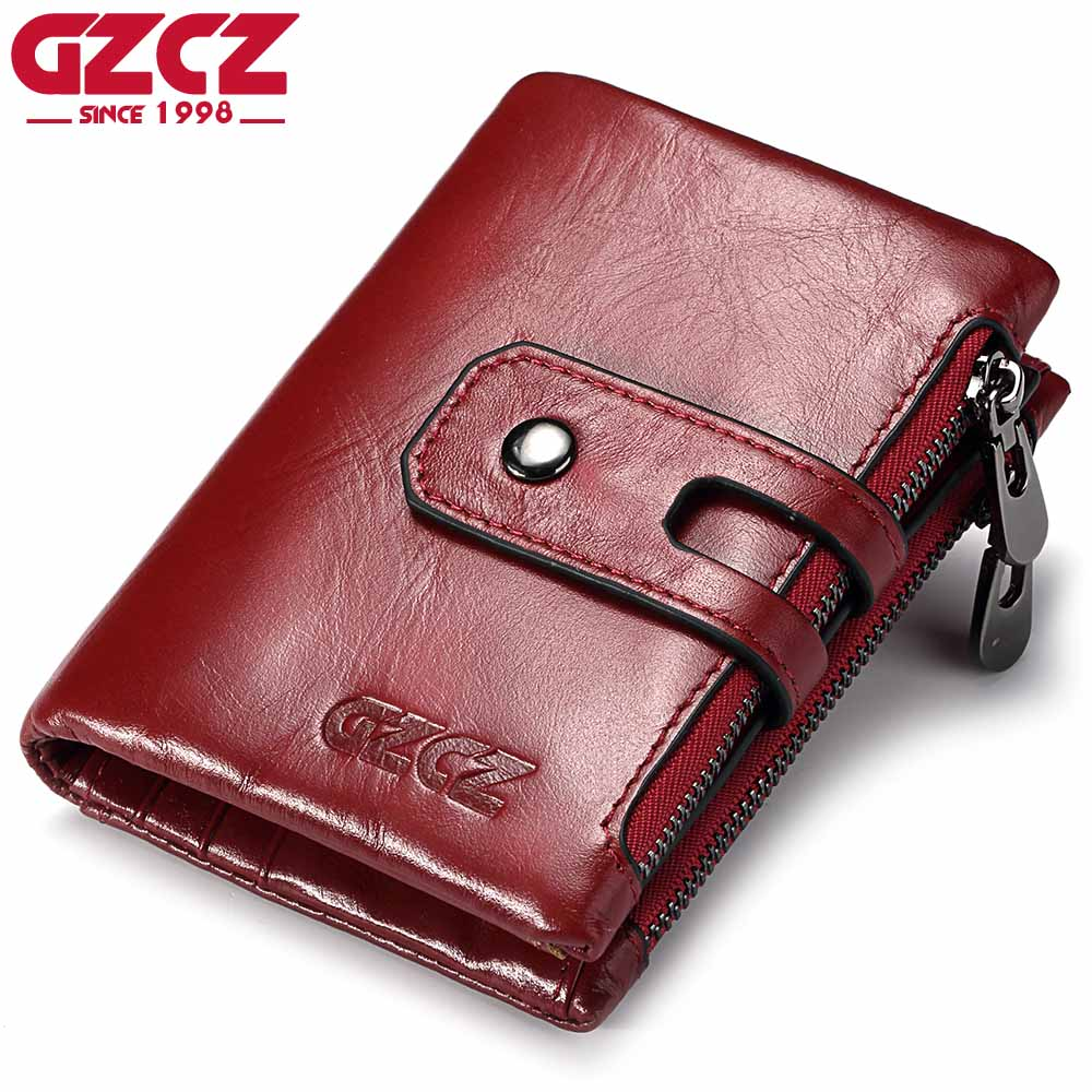 GZCZ Women Wallet Female Genuine Leather Short Wallets Coin Purse Small Card Holder With Zipper Clamp For Money Bag Portomonee