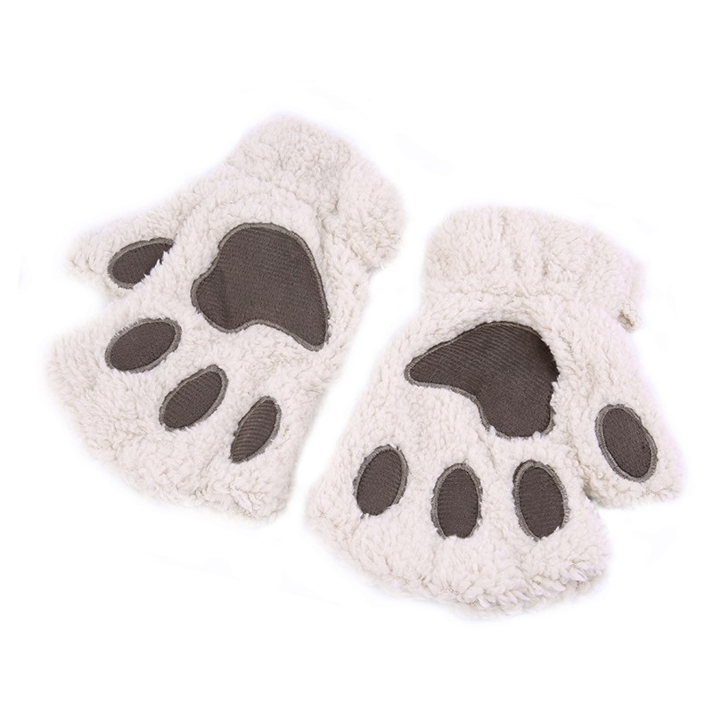 Apparel Accessories Temperate New Soft Warm Winter Women Paw Gloves No Finger Fluffy Bear Cat Plush Paw Beige
